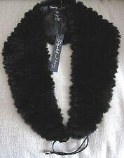Elizabeth and James Black Rex Rabbit Eva Fur Collar Scarf Lined