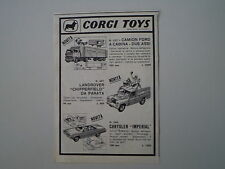 advertising Pubblicità 1965 CORGI TOYS CAMION FORD/LAND ROVER/CHRYSLER IMPERIAL