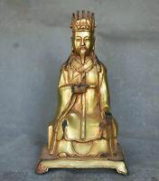 9.2 pouces vieux chinois cuivre Gil Golden Palace Civilian Civilian Statue