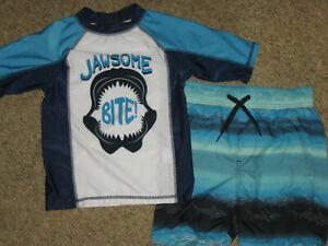 New boys 6 P.S Aeropostale swim set shorts top swimwear bathing suit shark shirt