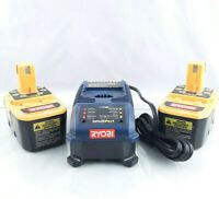 Ryobi P115 Intelliport 18 Volt ONE+ Plus Battery Charger & 2 P100 18V Batteries