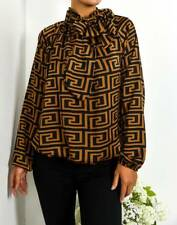 Designer inspired Ladies Pussy Bow Blouse/Shirt FEND THEM OFF BROWN