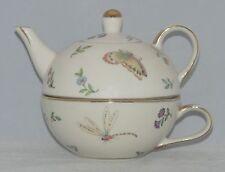 burton+Burton Porcelain Tea for One Set Stacked Teapot & Cup MORNING MEADOWS (U)