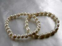 Süsswasser Zuchtperlen Armband elastisch Perlweiß oval oder rund wählbar