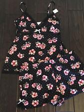 NEW Marilyn Monroe 2 pc Lingerie Cami & Shorts Set PJ NWT Size M Black Floral