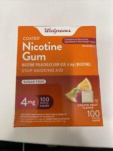 Walgreens Nicotine Gum, 4mg, Coated Fruit Flavor, 100pcs, Exp:01/2024