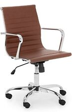 6 Brown Leather Office Conference Meeting Chairs