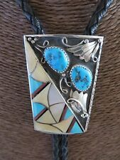 STERLING SILVER KINGMAN TURQUOISE MOTHER OF PEARL CORAL INLAY BOLO TIE *VINTAGE