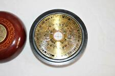 Chinese Asian Zodiac Compass in Laquered Wood Case with Metal Coin