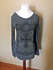 Women's M Blouse Shirt Top Tunic Rhinestones Stud Fleur De Lis Cross Crown Gray