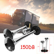 12-24V 150dB DOUBLE Air Horn Chrome Trumpet Loudspeaker Set For Train Car Truck