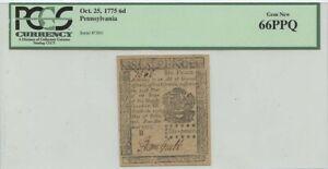 Oct 25 1776 6d Pence Pennsylvania  PCGS Gem 66PPQ