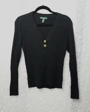 Lauren Ralph Lauren Womens Black V-Neck Pullover Sweater Size Medium 100% Cotton