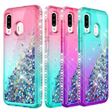 For Samsung Galaxy A20S Hybrid Quicksand Glitter Clear Case Rugged Bumper Cover
