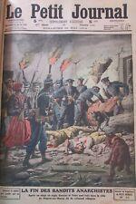 FIN ANARCHISTES GARNIER & VALET DESCENTE DE POLICE GRAVURE LE PETIT JOURNAL 1912