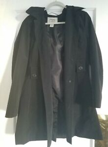 FOG by London Fog Women's Hooded Black Trench Coat Detachable Hood w/ Lining