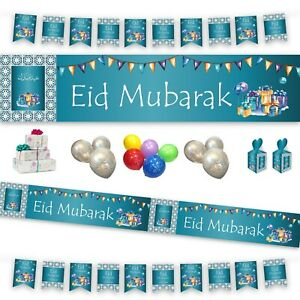Eid Mubarak Party Decorations Banner Balloons Flags Bunting Cards Gift BLUE