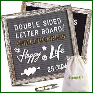 Dual Sided Felt Letter Board W Letters By Fineably 750 Precut WHITE & GOLD Numbe