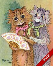 CATS WITH HAND FAN LOUIS WAIN CAT KITTEN PET ART PAINTING REAL CANVAS PRINT
