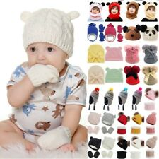 Kids Baby Boys Girls Knitted Beanie Cap Winter Crochet Thicken Scarf Gloves Sets