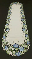NWT Blue Roses Cut Work Table Runner 14-1/2 x 69 inches