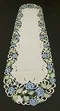 Blue Roses Cut Work Table Runner 14-1/2 x 69 inches