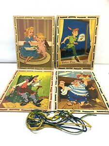Vintage Peter Pan Sewing Lace-up Four Card Walt Disney 1952 Genuine Wendy String