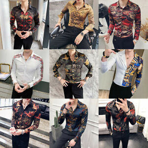 Men Long Sleeve Baroque Print Luxury Shirt Patchwork Slim Casual Party Outfits