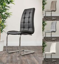2x MURANO Chrome Faux Leather Deep Foam Padded Dining Chairs Seats Metal Legs