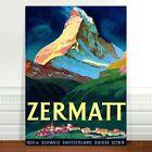 """Vintage Travel Poster Art ~ CANVAS PRINT 8x12"""" ~ Zermatt Switzerland"""