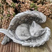Grabschmuck Katzenfigur Katze Engelsflügel Figur Dekofigur Grabfigur Tiergrab