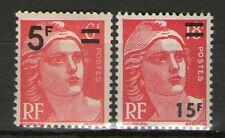 TIMBRES N° 827 + 968 NEUF ** GOMME ORIGINALE - MARIANNE DE GANDON SURCHARGES