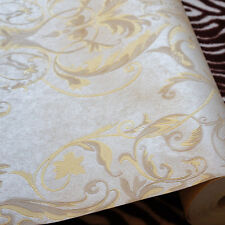 GOLD AND SILVER EMBOSSED CLASSIC DAMASK WALLPAPER   10m Roll