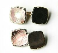Art Deco Vintage Carved Dark Mother of Pearl MOP Yellow Gold Filled Cuff Links