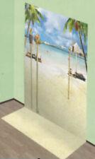 TROPICAL BEACH Scene Setter LUAU party wall decor ocean palm tree tiki lights