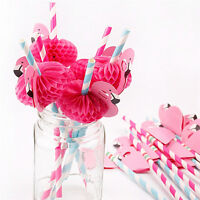 12PCS Paper  Birthday Party Funny Flamingo Honeycomb Striped Drinking Straws 3C