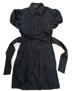 BCBGMaxazria Women's Dress Black Size 6 Short Puff Sleeve Tie Back