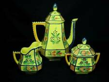 HB Quimper France Yellow Soleil Lattice Coffeepot, Creamer and Covered Sugar