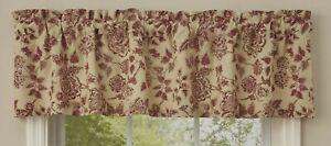 "1 Rustic Floral Burgundy Cream Country Farmhouse Window Valance 60"" x 14"""
