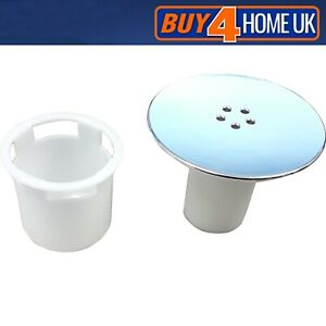 SHOWER TRAY CUBICLE WASTE CAP TUBE & CUP - 90mm PLUG DRAIN REPLACEMENT CHROME