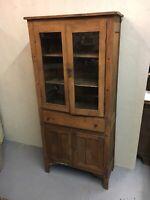 Large Primitive Wooden Cabinet Rustic Glass Doors Drawer Storage Kitchen Display