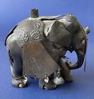 Antique Carved Ebony Wood Brass Metal India Elephant Figurine Miniature