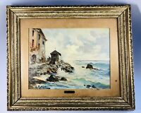 Antique Valerio Rotini Italian Riviera Scene Oil on Board Painting Signed