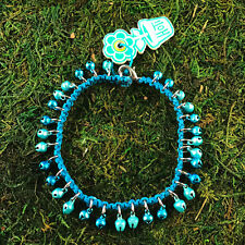 Anklet Ankle Bracelet Hand Crafted Nwt Hoti Hemp Handmade Turquoise Blue Bells