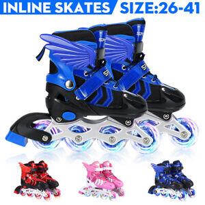 Inline Skates Kinder Rollschuhe Verstellbar Vollblitz 26-32,33-37,38-41 + Flügel