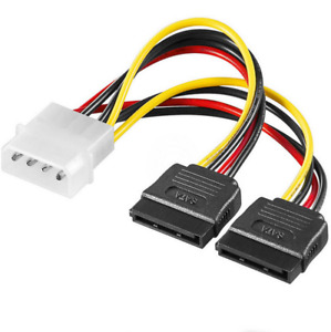 Molex to 2 SATA Dual Power Splitter Adapter Cable Lead 2 Way 4 Pin 15 Pin. 0163