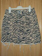 Zebra Print Denim Skirt Size 8