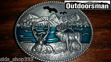 Deer By Lake Eagle Above Belt Buckle Embossed Metal Pewter turquoise color