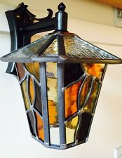 CONISTON NH14 DC AW Lantern Stained Glass Amber Handmade Leaded light OUTDOOR