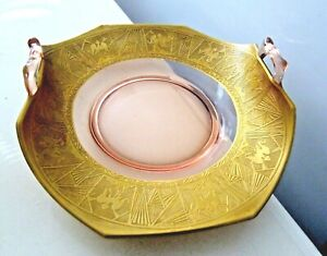PINK DEPRESION GLASS HEAVY GOLD GILD BAND SERVING CAKE PLATE TRAY HANDLES